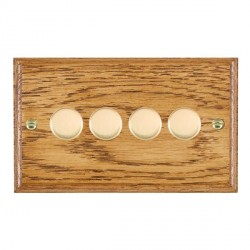 Hamilton Woods Ovolo Medium Oak 4 Gang 2 way 400W Dimmer with Polished Brass Insert