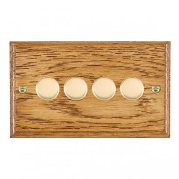 Hamilton Woods Ovolo Medium Oak 4 Gang 2 way 400W Dimmer with Polished Brass Insert