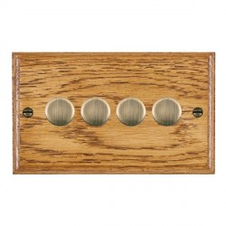 Hamilton Woods Ovolo Medium Oak 4 Gang 2 way 400W Dimmer with Antique Brass Insert