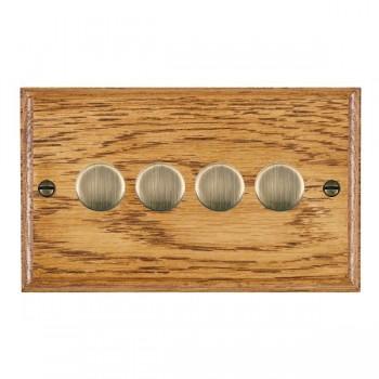 Hamilton Woods Ovolo Medium Oak 4 Gang 2 way 400W Dimmer with Antique Brass Insert
