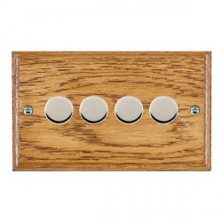 Hamilton Woods Ovolo Medium Oak 4 Gang Multi-way 250W/VA Dimmer with Bright Chrome Insert