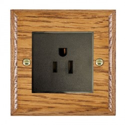 Hamilton Woods Ovolo Medium Oak 1 Gang 15A 127V American Unswitched Socket with Black Insert