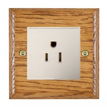 Hamilton Woods Ovolo Medium Oak 1 Gang 15A 127V American Unswitched Socket with White Insert