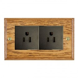 Hamilton Woods Ovolo Medium Oak 2 Gang 15A 127V American Unswitched Socket with Black Insert