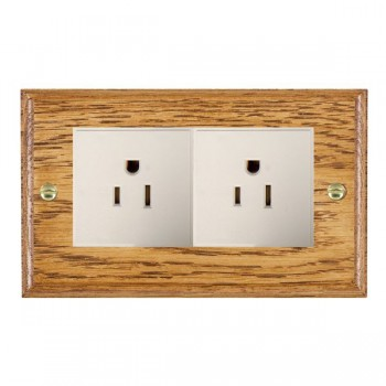 Hamilton Woods Ovolo Medium Oak 2 Gang 15A 127V American Unswitched Socket with White Insert
