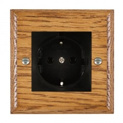 Hamilton Woods Ovolo Medium Oak 1 Gang 10/16A German Unswitched Socket with Black Insert