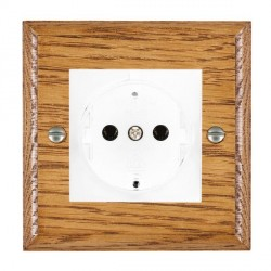 Hamilton Woods Ovolo Medium Oak 1 Gang 10/16A German Unswitched Socket with White Insert