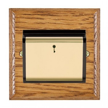 Hamilton Woods Ovolo Medium Oak 1 Gang On/Off 10A Hotel Card Switch with Black Insert