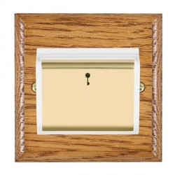 Hamilton Woods Ovolo Medium Oak 1 Gang On/Off 10A Hotel Card Switch with White Insert