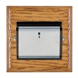 Hamilton Woods Ovolo Medium Oak 1 Gang On/Off 10A Hotel Card Switch with Black Insert