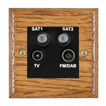 Hamilton Woods Ovolo Medium Oak 1 Gang TV + 1 Gang Satellite + 1 Gang Satellite + 1 Gang FM Outlet with Black Insert