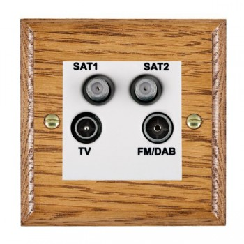 Hamilton Woods Ovolo Medium Oak 1 Gang TV + 1 Gang Satellite + 1 Gang Satellite + 1 Gang FM Outlet with White Insert