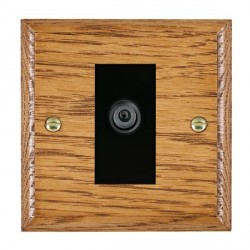 Hamilton Woods Ovolo Medium Oak 1 Gang Digital Satellite 'F' Type Outlet with Black Insert
