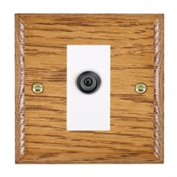 Hamilton Woods Ovolo Medium Oak 1 Gang Digital Satellite 'F' Type Outlet with White Insert