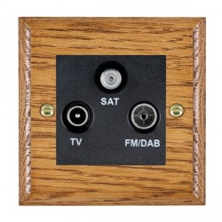 Hamilton Woods Ovolo Medium Oak 1 Gang TV + 1 Gang FM +1g Satellite Outlet with Black Insert