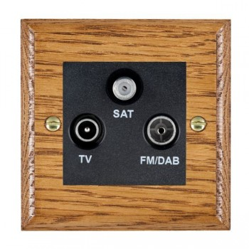 Hamilton Woods Ovolo Medium Oak 1 Gang TV + 1 Gang FM +1g Satellite Outlet with Black Insert