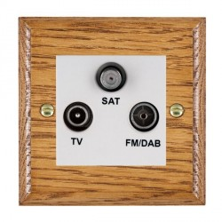 Hamilton Woods Ovolo Medium Oak 1 Gang TV + 1 Gang FM +1g Satellite Outlet with White Insert