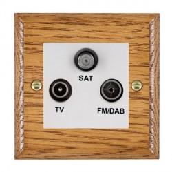 Hamilton Woods Ovolo Medium Oak 1 Gang TV + 1 Gang FM +1g Satellite Outlet with White Insert