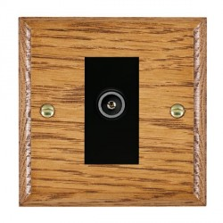 Hamilton Woods Ovolo Medium Oak 1 Gang TV (Female) Outlet with Black Insert