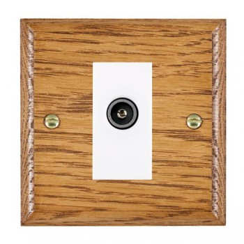 Hamilton Woods Ovolo Medium Oak 1 Gang TV (Female) Outlet with White Insert