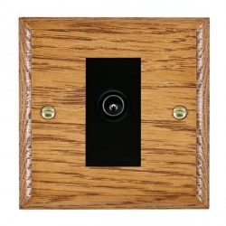 Hamilton Woods Ovolo Medium Oak 1 Gang TV (Male) Outlet with Black Insert