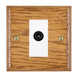 Hamilton Woods Ovolo Medium Oak 1 Gang TV (Male) Outlet with White Insert