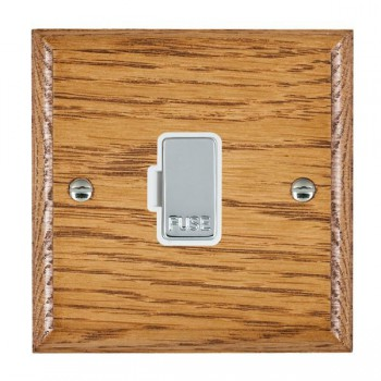 Hamilton Woods Ovolo Medium Oak 1 Gang 13A Fuse Only with White Insert