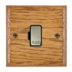 Hamilton Woods Ovolo Medium Oak 1 Gang 13A Fuse Only with Black Insert