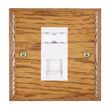 Hamilton Woods Ovolo Medium Oak 1 Gang RJ12 Outlet Unshielded Outlet with White Insert