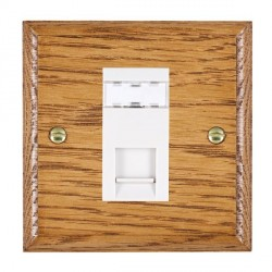 Hamilton Woods Ovolo Medium Oak 1 Gang RJ45 Cat 5E Unshielded Outlet with White Insert