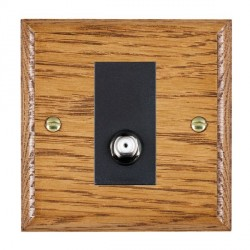 Hamilton Woods Ovolo Medium Oak 1 Gang Isolated Satellite Outlet with Black Insert