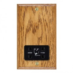Hamilton Woods Ovolo Medium Oak Dual Voltage Shaver Socket with Black Insert