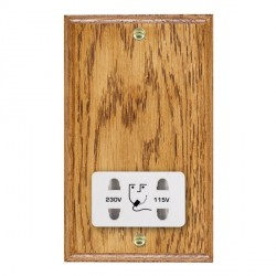 Hamilton Woods Ovolo Medium Oak Dual Voltage Shaver Socket with White Insert