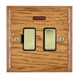 Hamilton Woods Ovolo Medium Oak 1 Gang 13A Fused Spur, Double Pole + Neon with Black Insert