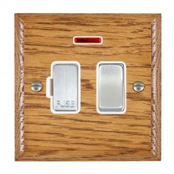 Hamilton Woods Ovolo Medium Oak 1 Gang 13A Fused Spur, Double Pole + Neon with White Insert
