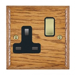 Hamilton Woods Ovolo Medium Oak 1 Gang 13A Switched Socket with Black Insert