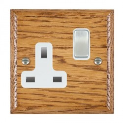 Hamilton Woods Ovolo Medium Oak 1 Gang 13A Switched Socket with White Insert