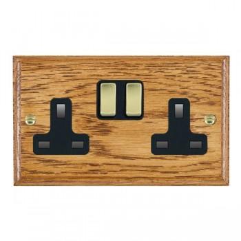 Hamilton Woods Ovolo Medium Oak 2 Gang 13A Switched Socket with Black Insert