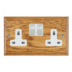 Hamilton Woods Ovolo Medium Oak 2 Gang 13A Switched Socket with White Insert
