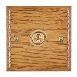 Hamilton Woods Ovolo Medium Oak 1 Gang 2 Way Toggle with Polished Brass Insert