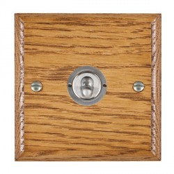 Hamilton Woods Ovolo Medium Oak 1 Gang 2 Way Toggle with Satin Chrome Insert