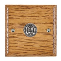 Hamilton Woods Ovolo Medium Oak 1 Gang 2 Way Toggle with Bright Chrome Insert