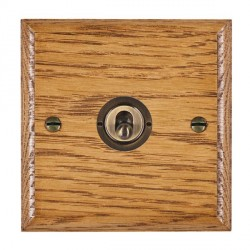 Hamilton Woods Ovolo Medium Oak 1 Gang 2 Way Toggle with Antique Brass Insert