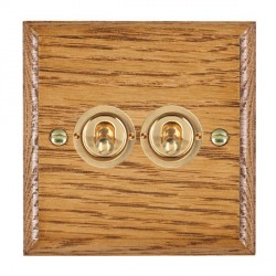 Hamilton Woods Ovolo Medium Oak 2 Gang 2 Way Toggle with Polished Brass Insert