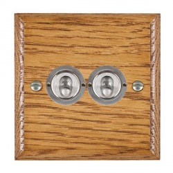 Hamilton Woods Ovolo Medium Oak 2 Gang 2 Way Toggle with Satin Chrome Insert