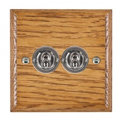 Hamilton Woods Ovolo Medium Oak 2 Gang 2 Way Toggle with Bright Chrome Insert