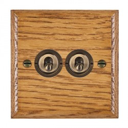 Hamilton Woods Ovolo Medium Oak 2 Gang 2 Way Toggle with Antique Brass Insert