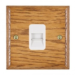 Hamilton Woods Ovolo Medium Oak 1 Gang Telephone Master Outlet with White Insert