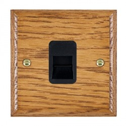 Hamilton Woods Ovolo Medium Oak 1 Gang Telephone Slave Outlet with Black Insert