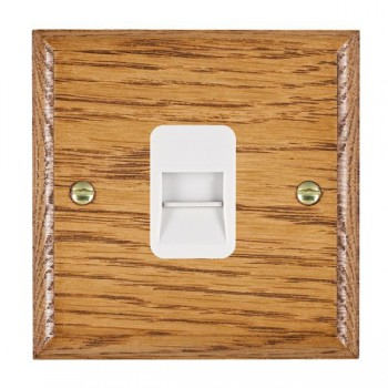 Hamilton Woods Ovolo Medium Oak 1 Gang Telephone Slave Outlet with White Insert